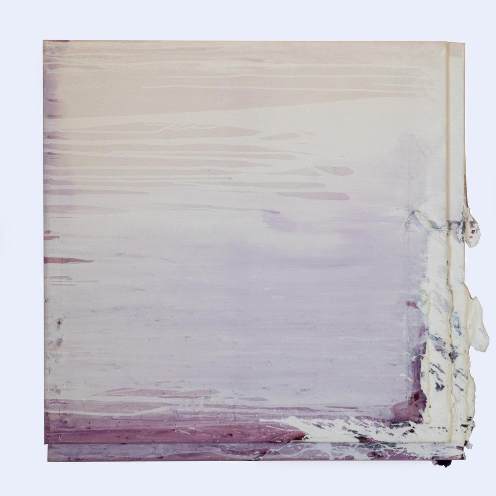 Rebecca Wallis  'Blackout', 2018.  950 x 950 x 35mm & 1000 x 1000 x 35mm  Gesso over acrylic on silk over pine stretcher bars.