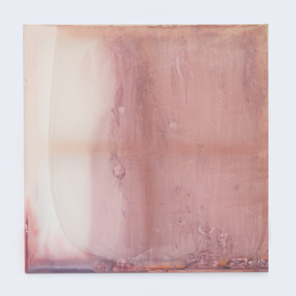 Rebecca Wallis  'Skintight', 2018.   800 x 800 x 35mm  Acrylic behind silk over pine stretcher bars