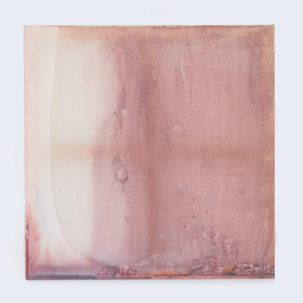Rebecca Wallis  'Skintight', 2018.  800 x 800 x 35mm  Acrylic behind silk over pine stretcher bars