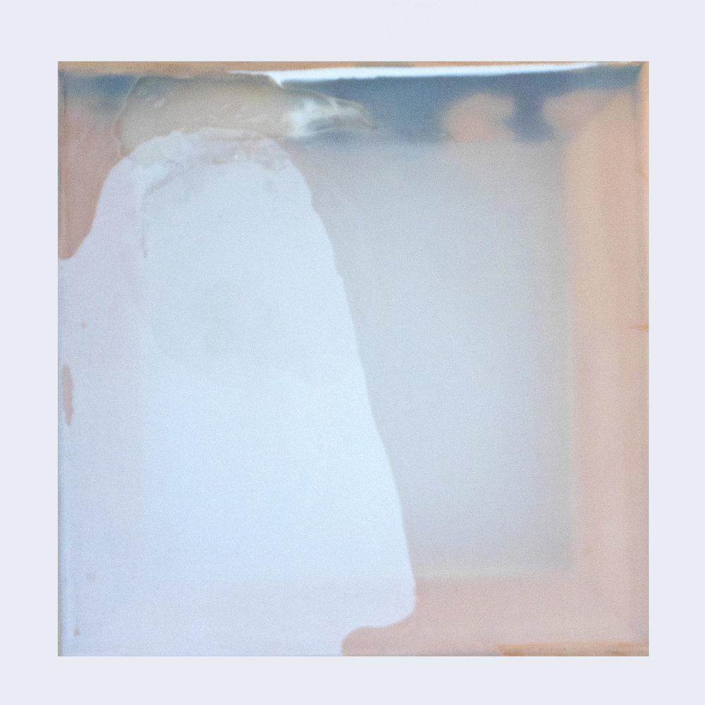 Rebecca Wallis  '  Becoming 8', 2018.   300 x 300 x 35mm  Acrylic on silk over pine stretcher bars.