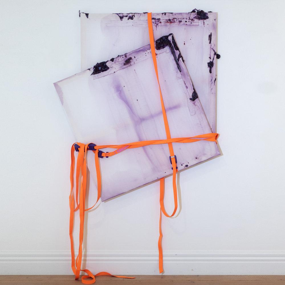 Rebecca Wallis  '  Pure Plenum', 2018.   1000 x 1000 x 35mm & 950 x 950 x 35 - (splitting continuum)  Acrylic on silk over pine stretcher bars.