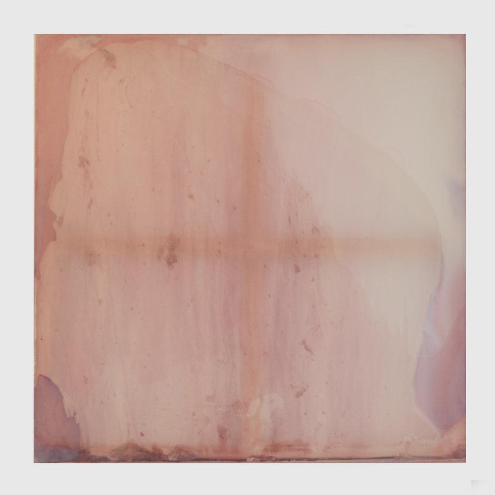 Rebecca Wallis  'Warm Flush', 2018.   1000 x 1000 x 35mm  Acrylic on silk over pine stretcher bars.