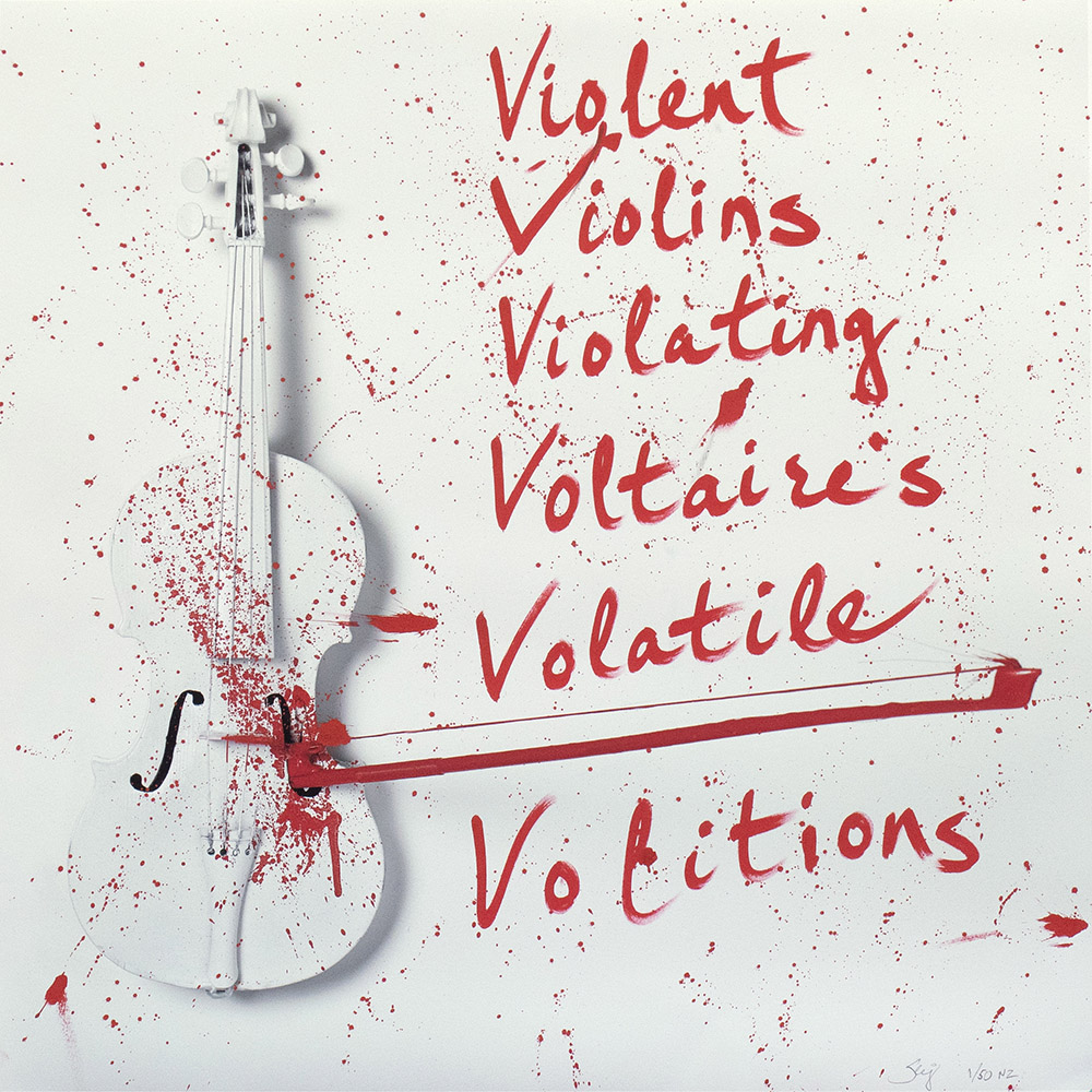 "Serj Tankian - 'Violent Viollins', 2018 - Print B 24"" x 24"" - Archival pigment inks on Photo Rag Each print is customised by Serj, signed, numbered and complete with a certificate of provenance."