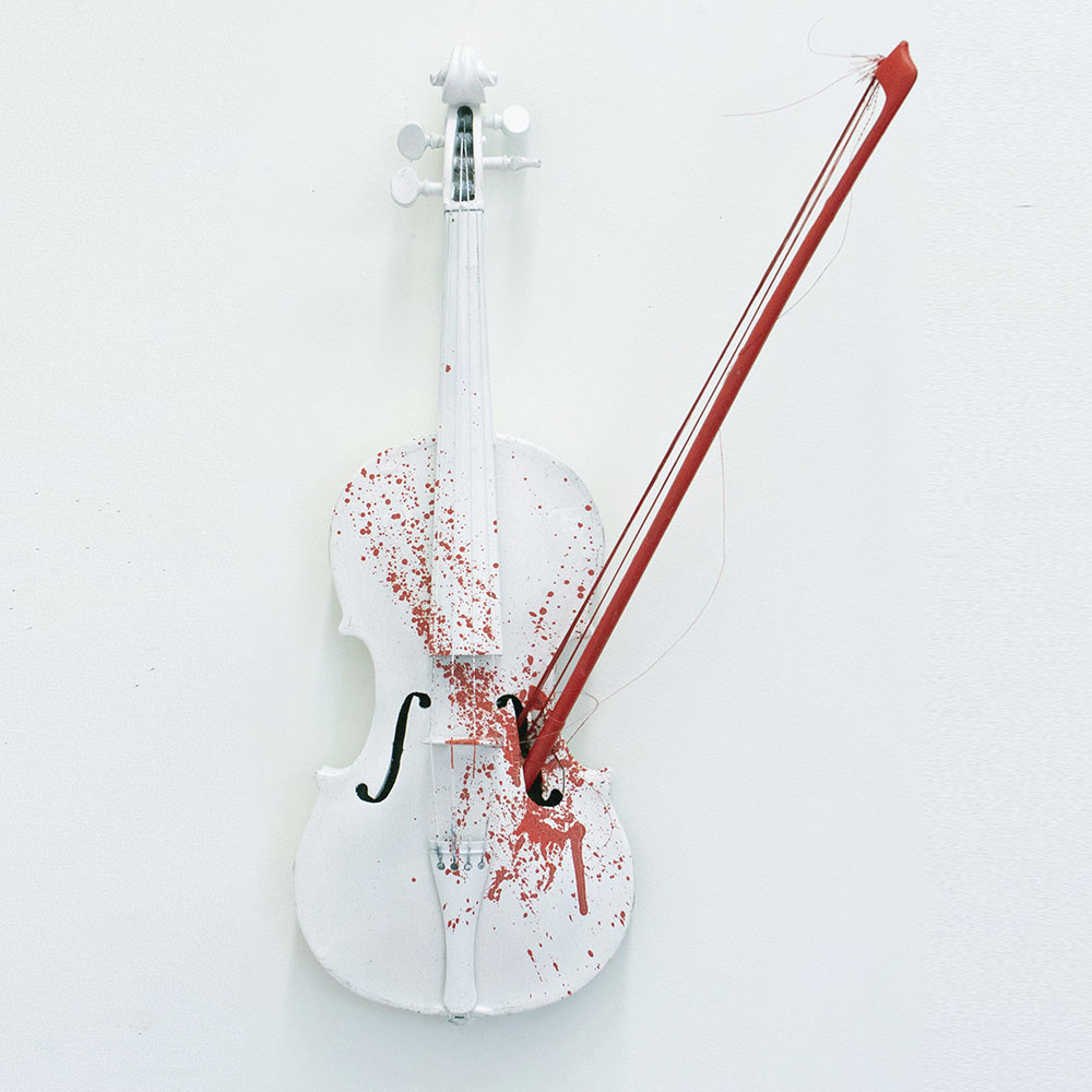 'Violent Violins', 2013 Original Sculpture Violin / Bow / Paint