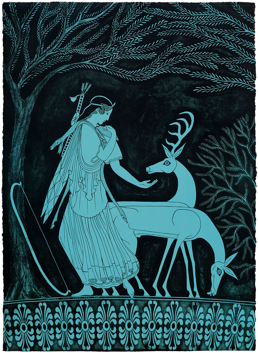 'Artemis Puts Down Her Bow', 2018 560 x 760 x 50mm. Lithograph, Edition of 24.