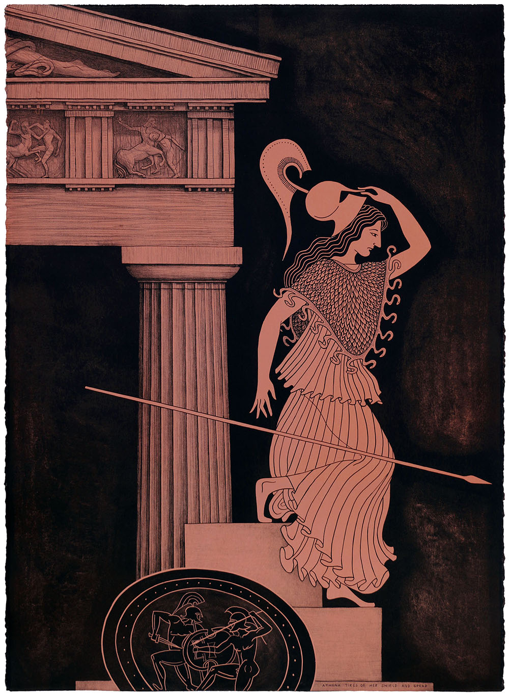 'Athena Tires of her Shield and Spear', 2018 560 x 760 x 50mm. Lithograph, Edition of 24.