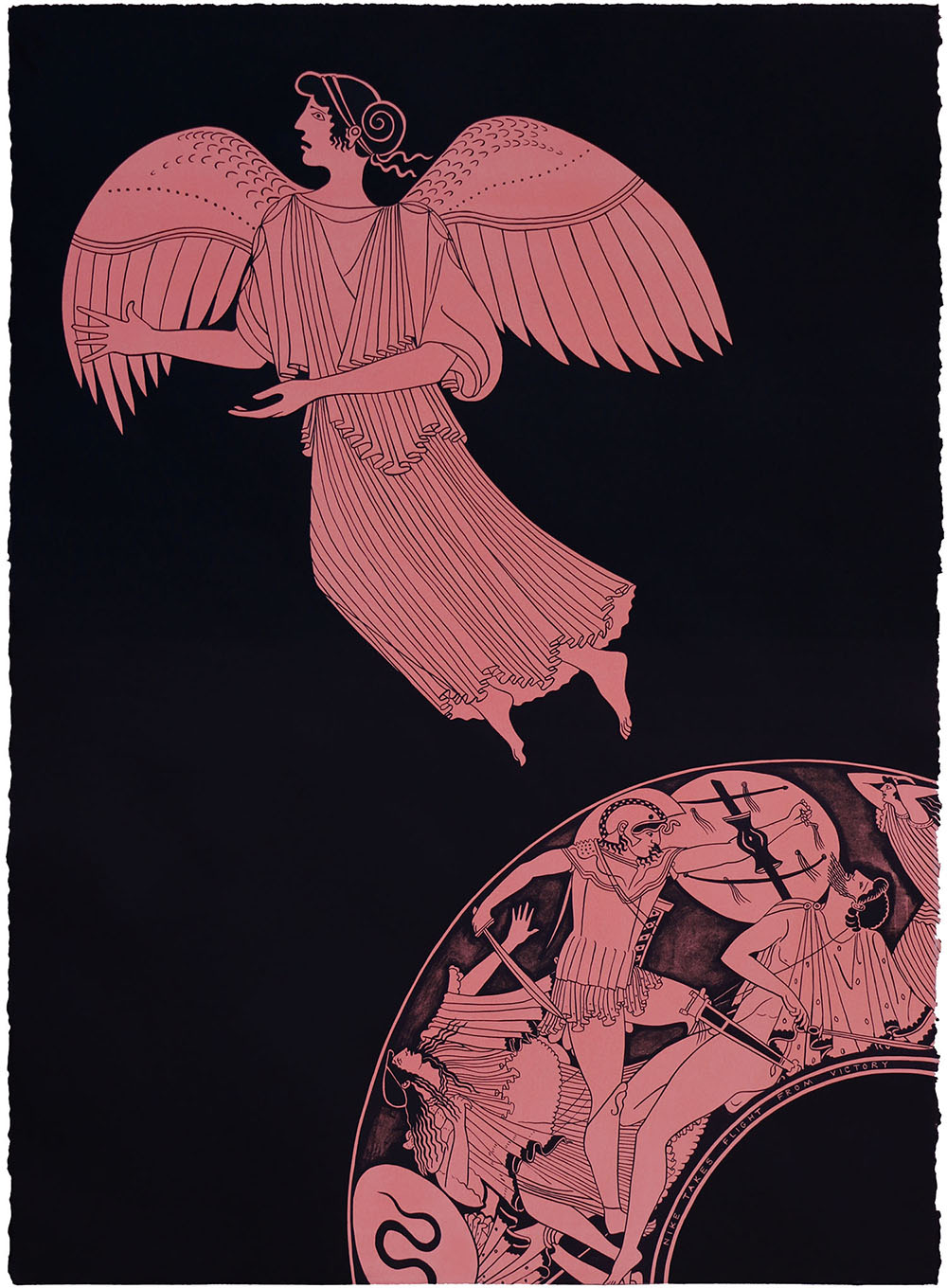'Nike Takes Flight From Victory', 2018 560 x 760 x 50mm. Lithograph, Edition of 24.