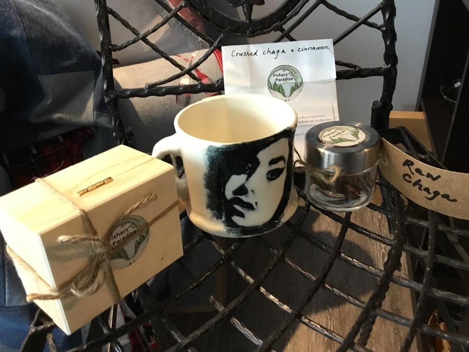 Mug from Betty Ackroyd, Chaga/Cinnamon Tea from Fisher's Paradise!