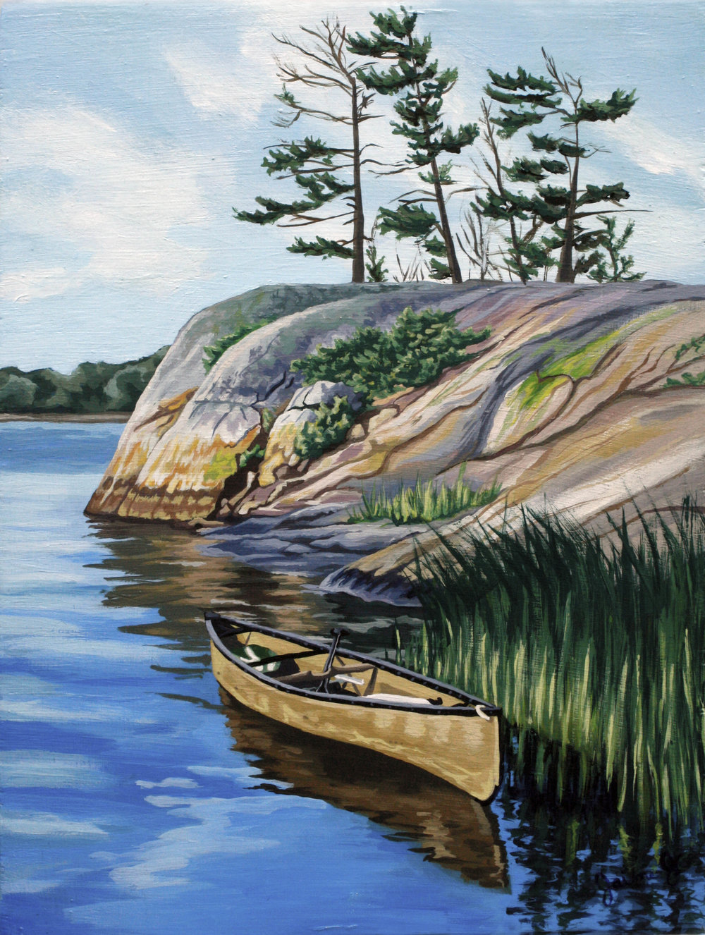 "Canoe Trip on Georgian Bay  11"" x 14"", Acrylic on Wood Panel"