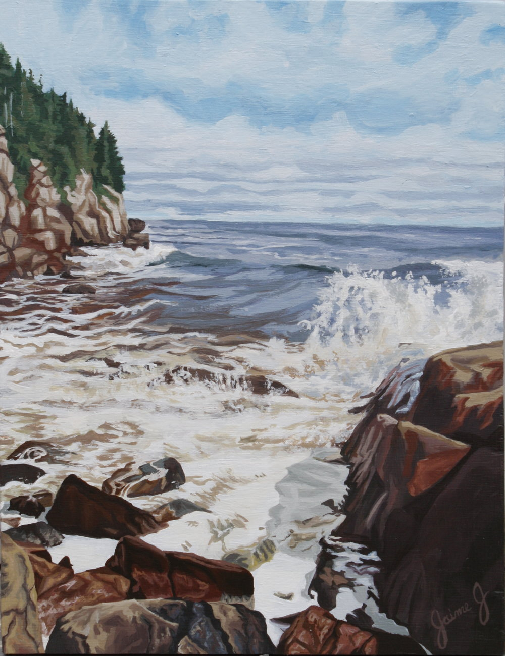 "Waves off the Cabot Trail  11"" x 14"", Acrylic on Wood Panel"