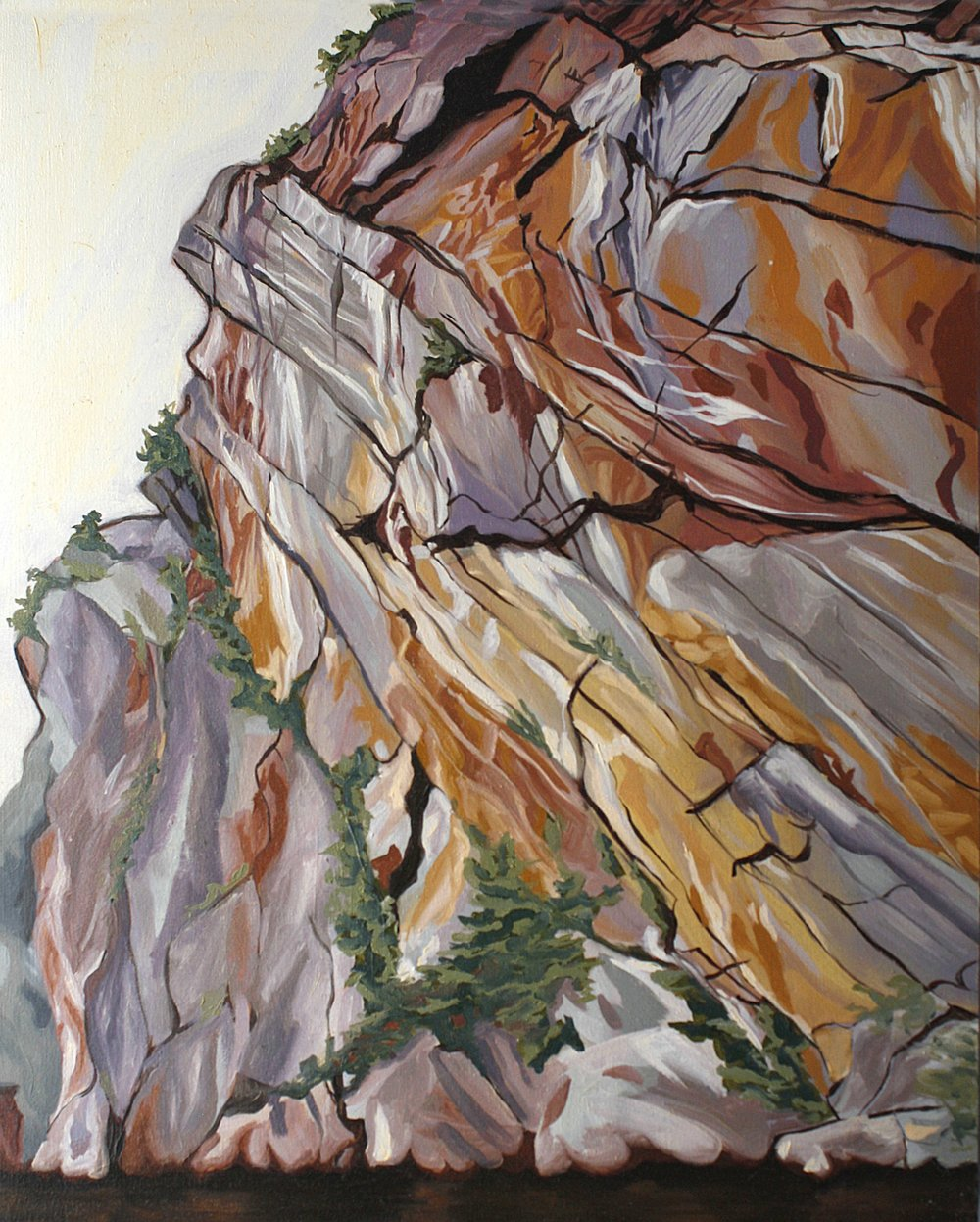 "Exploring the Rockface, Lake Mazinaw  18"" x 24"", Oil on Wood Canvas"