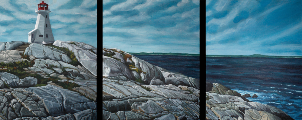 "Peggy's Cove (Triptych)  3 16"" x 20"" (48"" x 20""), Acrylic on Canvas"