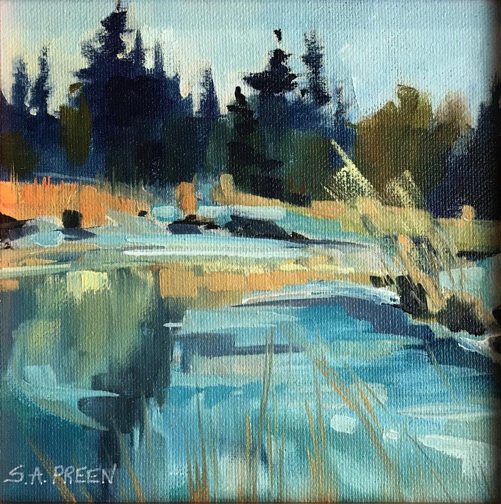 "Original Study #102  0.4"" x 0.4"", oil on canvas, framed"