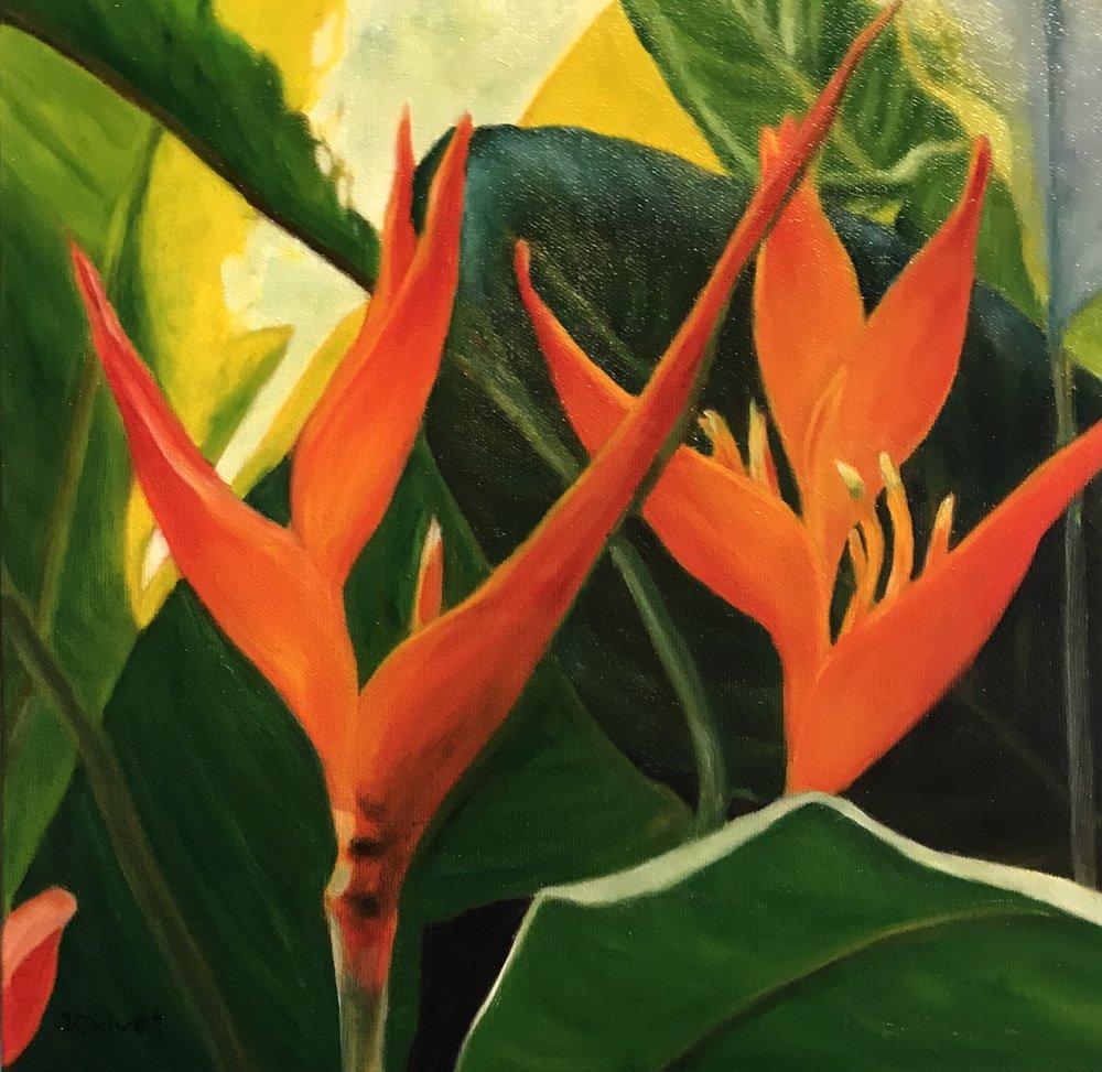Tropical Lady  1 x 1, Acrylic on canvas, unframed