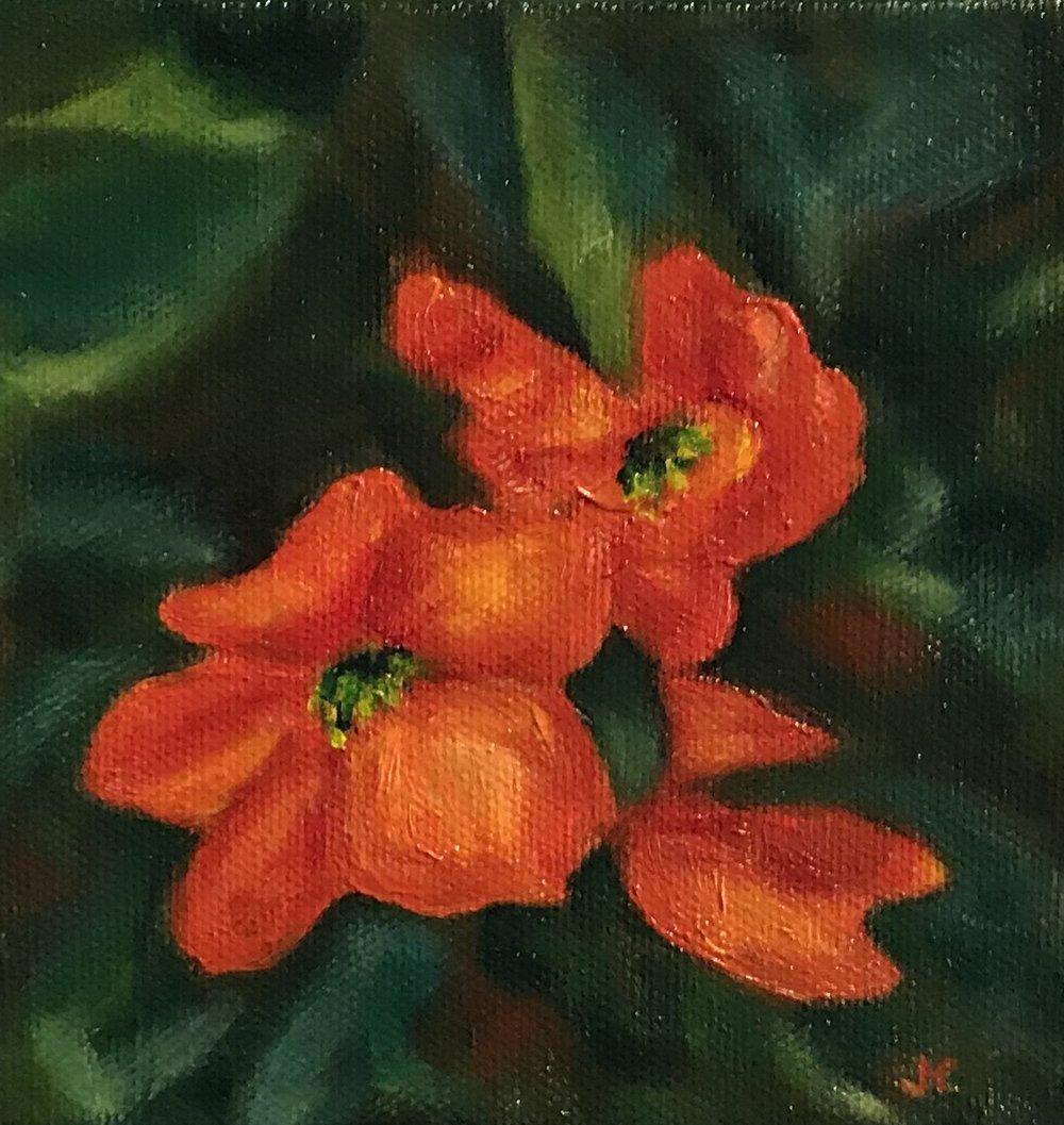 Begonia  0.4 x 0.4, acrylic on canvas, unframed
