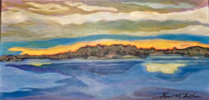 "Lakefront  12"" x 24"", acrylic on canvas"