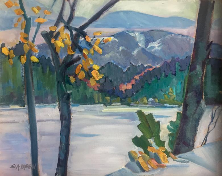 Winter Oak  8 x 10, oil on birch panel, framed