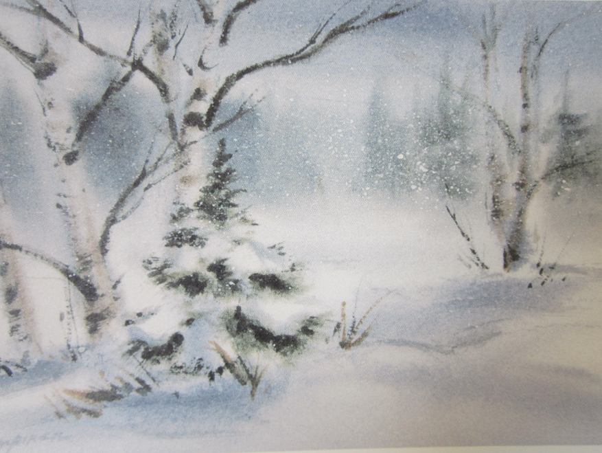 "First Snowfall  10"" x 12"", print, framed"