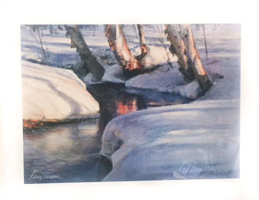 """Fire and Ice  12"""" x 14"""", print, framed"""