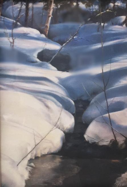 "Shadow Dance (Long Lake)  17"" x 14"", print, framed"
