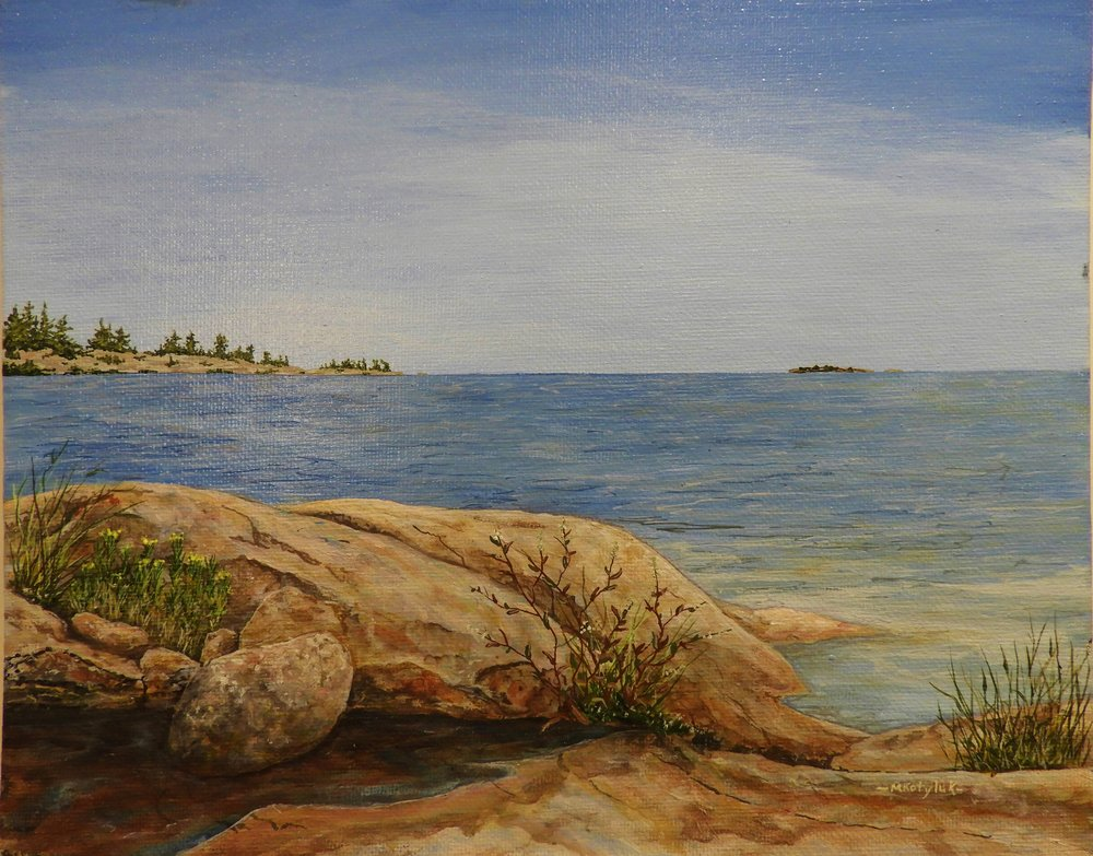 "Shoreline at Killarney  8""x11"", acrylic on canvas, framed"