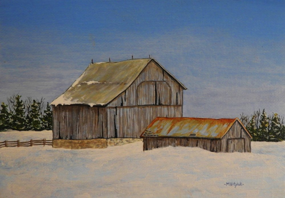 "Manitoulin Farm  5""x7"", acrylic on canvas, framed"