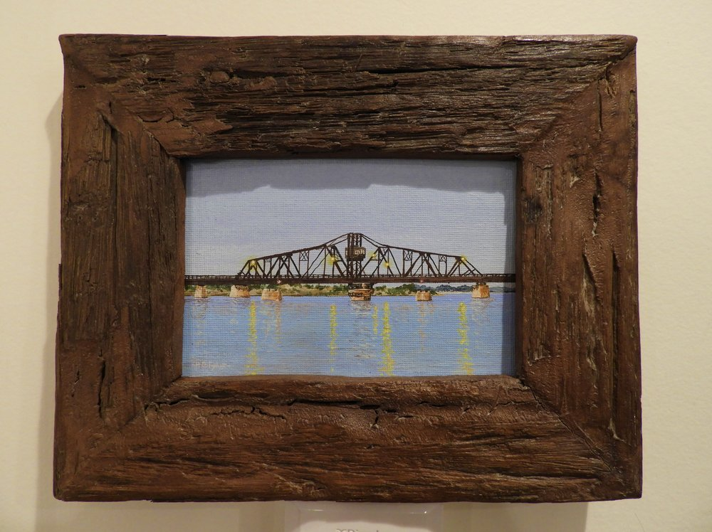 "Swing Bridge  3""x5"", acrylic on canvas, framed"
