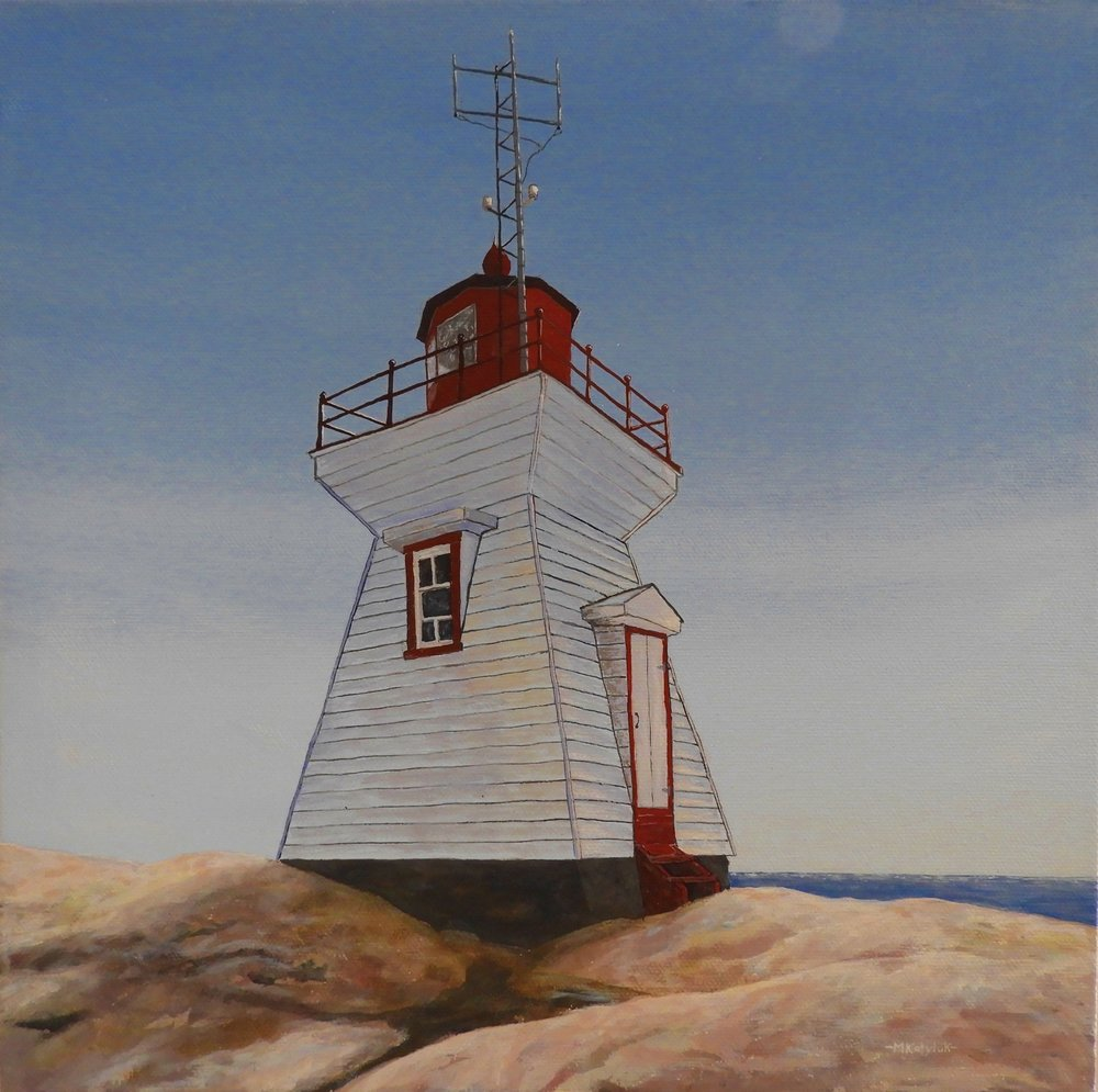 "12""x12"", Lighthouse at Killarney, acrylic on canvas, unframed"