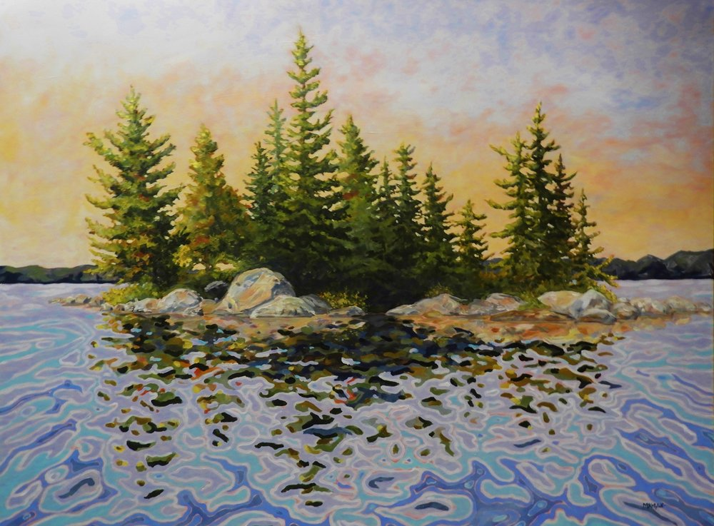 36'x48', Island on Canoe Lake, acrylic on canvas, unframed