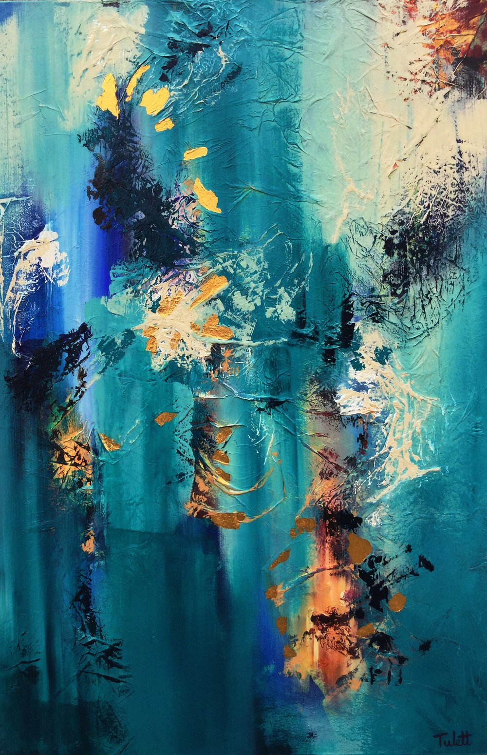 """Beyond, 24x36"""", Mixed Media with Gold Leaf, unframed"""