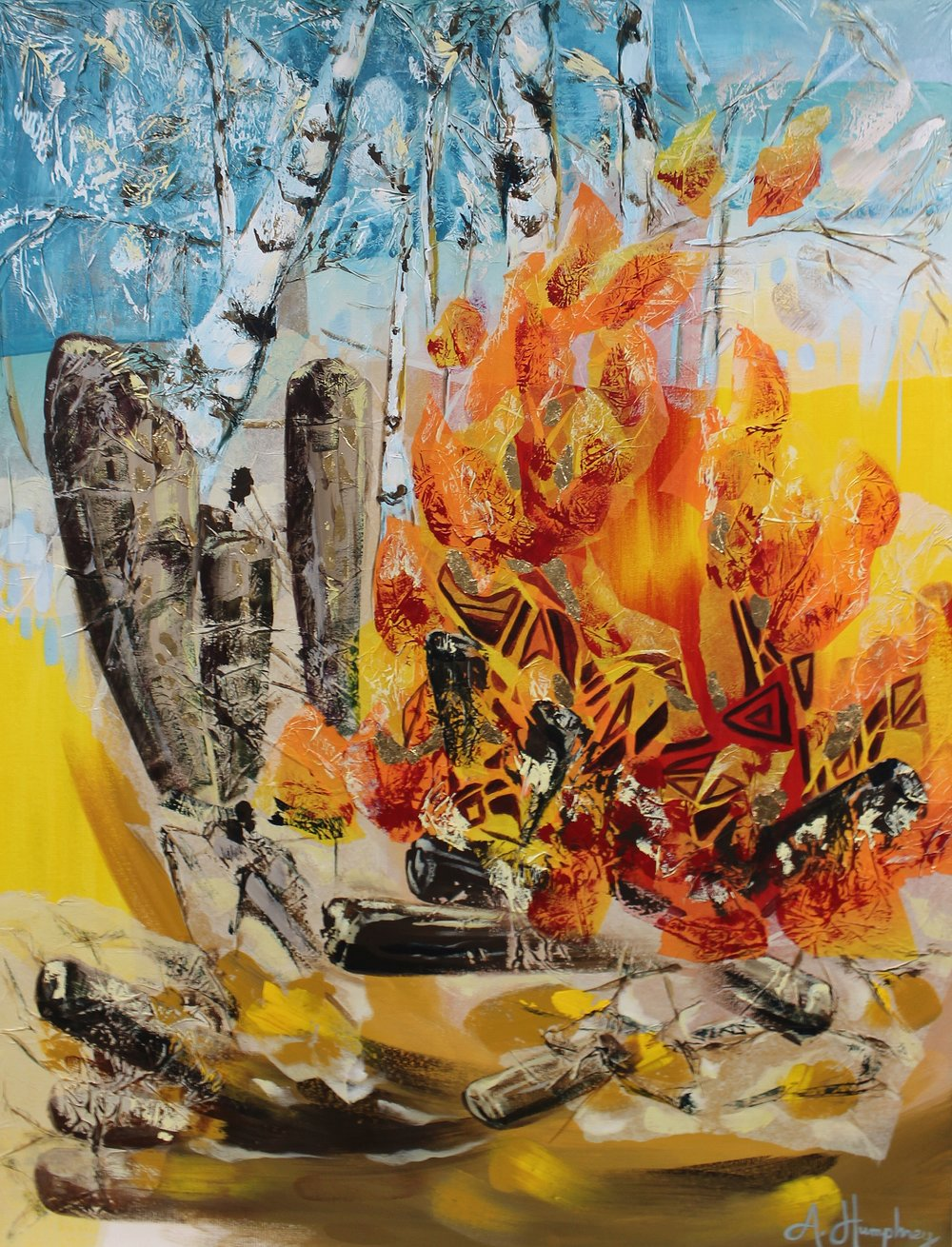"""Fire, Birch, Mixed Media and Gold Leaf, 30x40"""", unframed"""