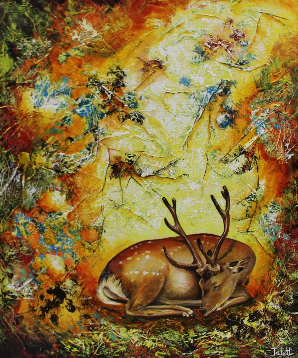 "Autumn Siesta, Mixed Media, 20x24"", unframed"