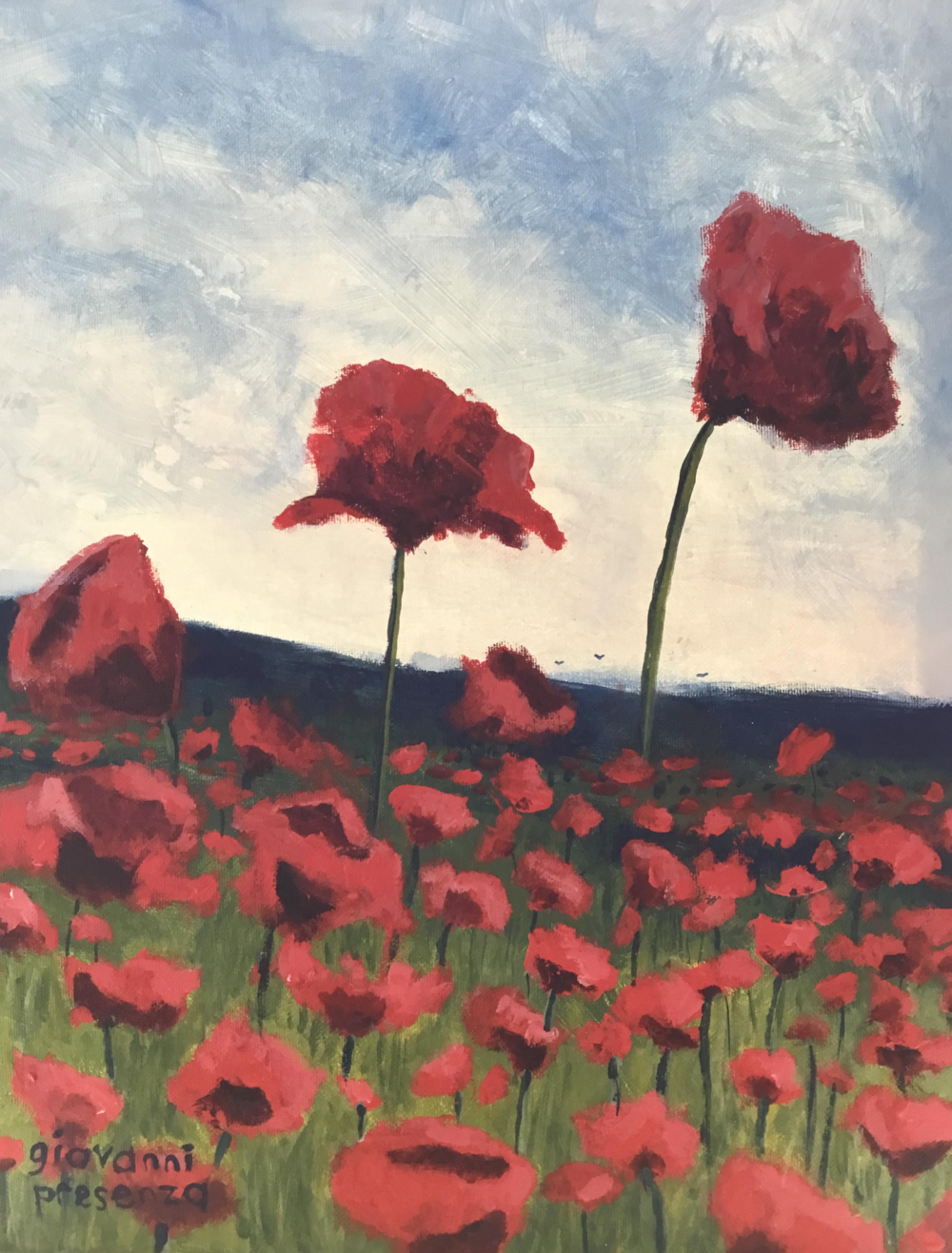 "Poppies, Acrylic on Canvas, 16x20"", unframed"