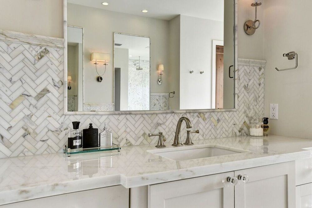 Marble Backsplash and Sink
