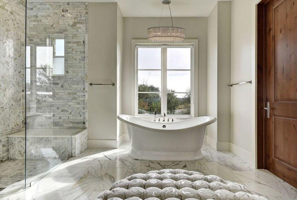 Bathroom Chandelier Over Bathtub