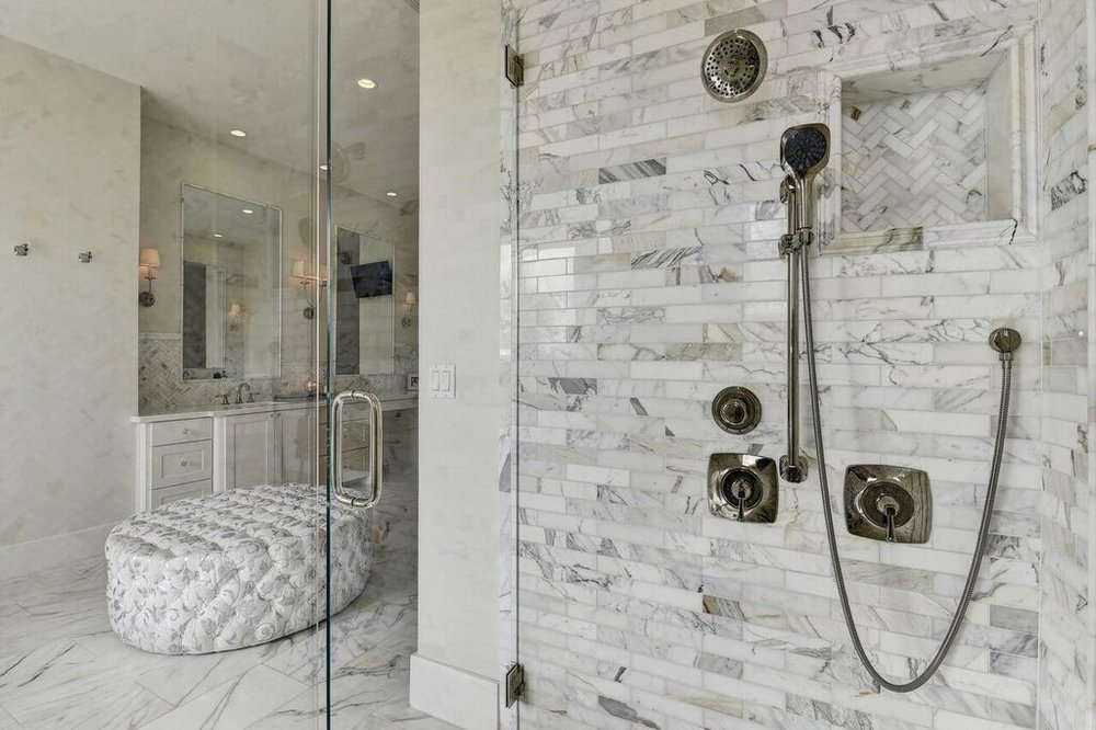 Bathroom Shower With Carrara Marble Tile