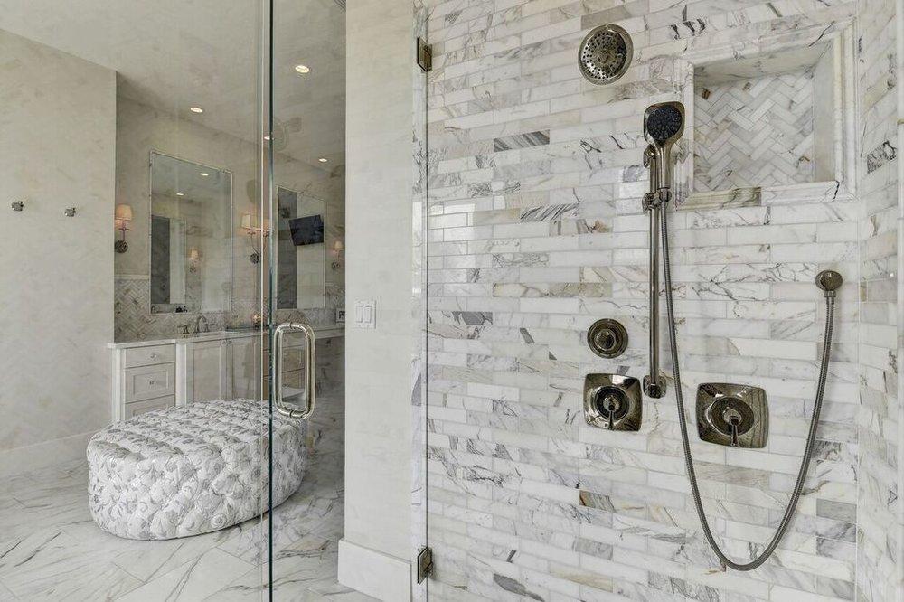 Bathroom Shower With Carrara Marble Tile