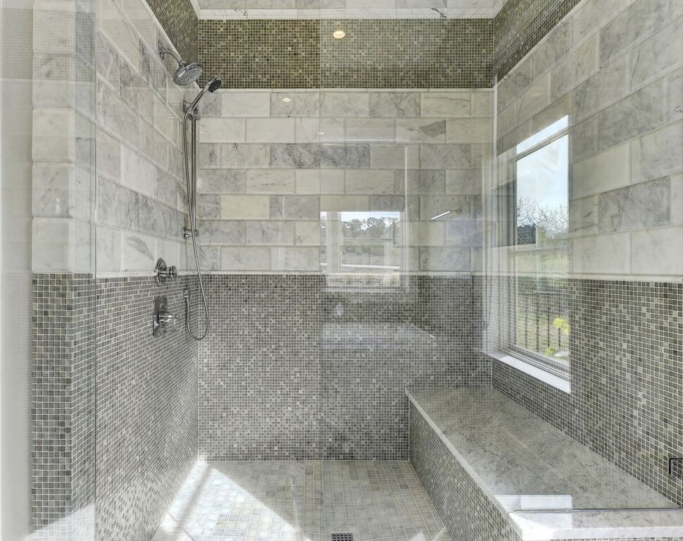 Gray Mosaic Tile Shower Design