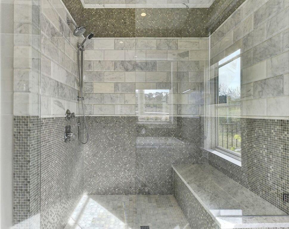 Gray Mosaic Tile Shower Design