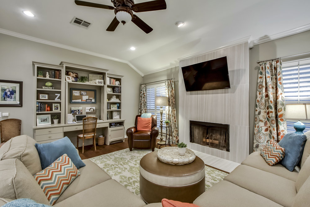 Austin Interior Design with Fireplace Accent Tile