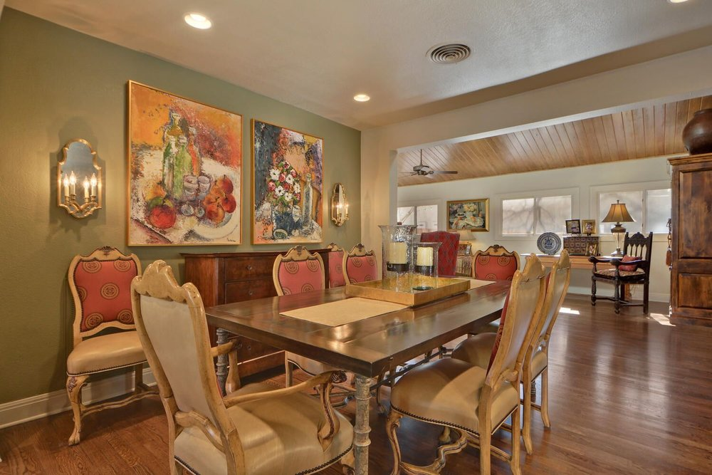 Dining room table that seats 8 with dining room wall art