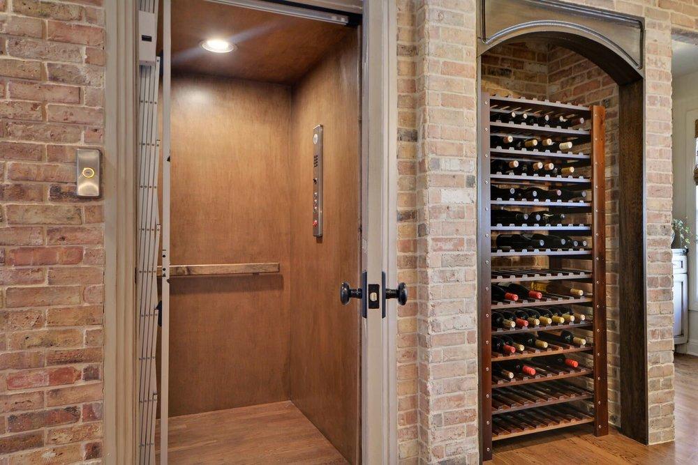 Wine cellar and home elevator