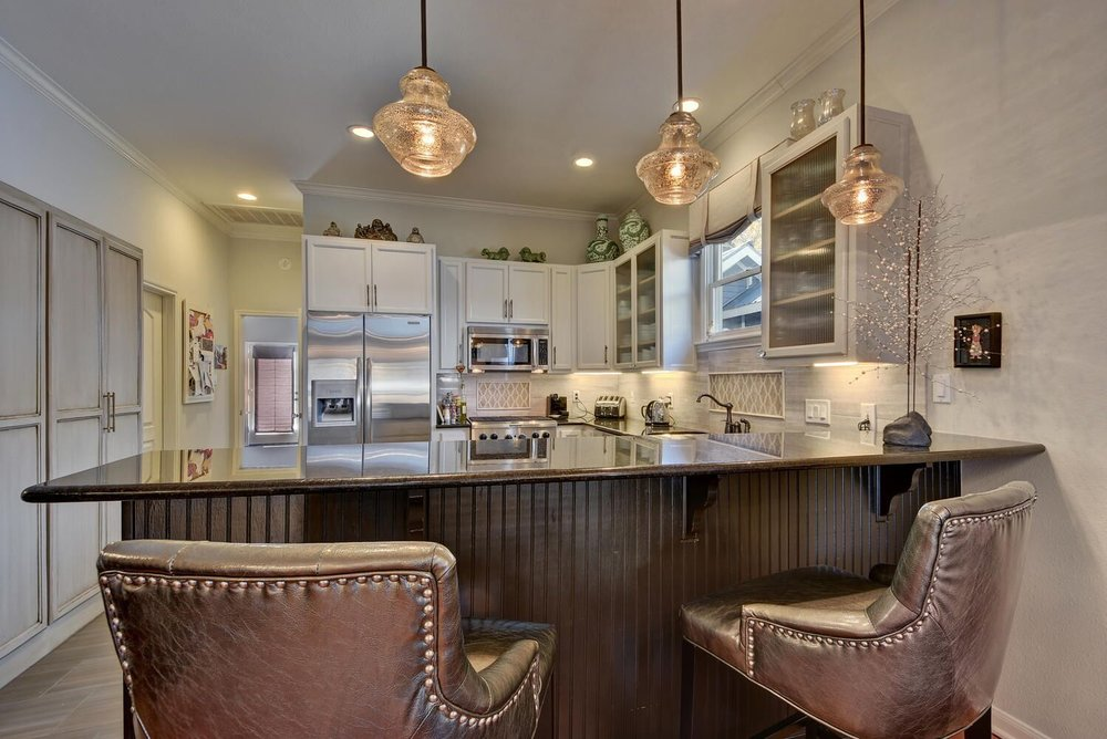 Gray Leather Kitchen Chairs with Nailhead Trim