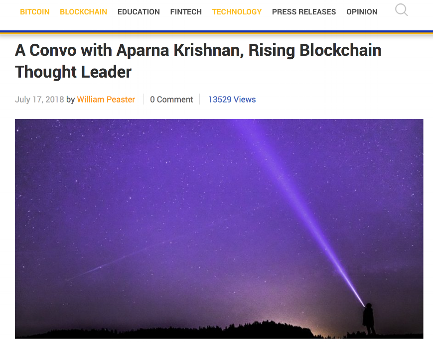 A convo with Aparna Krishnan, Rising Blockchain Thought Leader - Bitsonline converses with Aparna Krishnan, rising blockchain thought leader getting her thoughts on her work and the space.