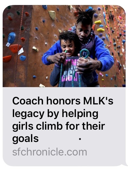 San Francisco Chronicle   Writer, photographer and videographer, Yoshi James tells a beautiful story of Brown Girls Climbing and the life work of Emily Taylor in this Martin Luther King, Jr. feature article and online video article.     Read and watch article