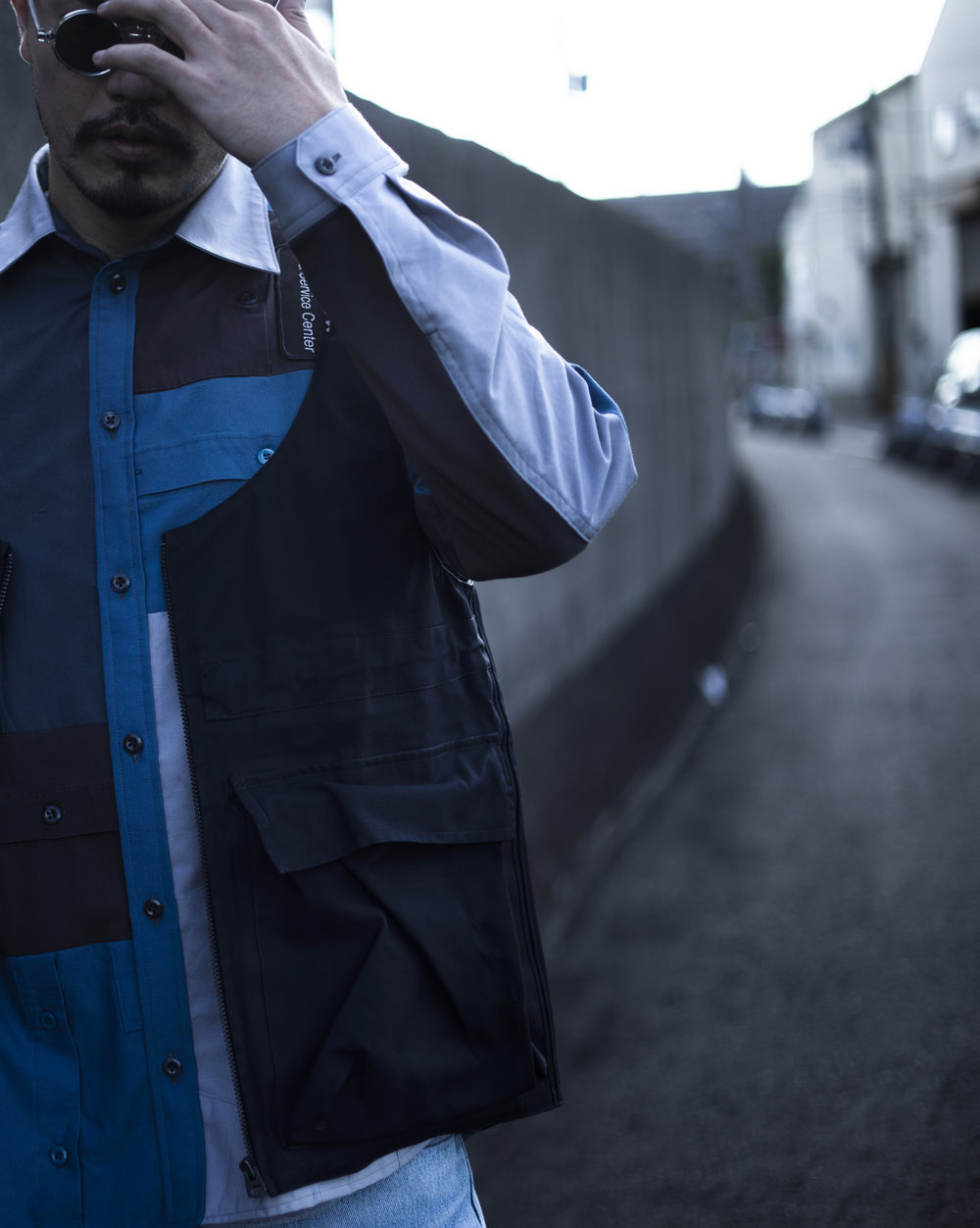 PATCH WORK SHIRT    ROYAL OVER VEST