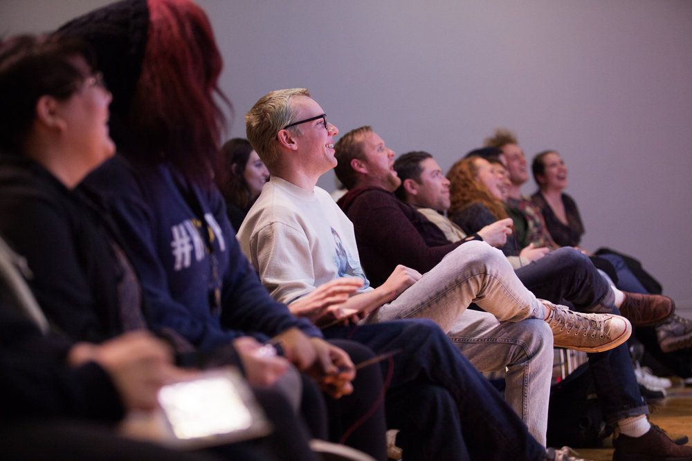 Engaged Audience - We draw upon a diverse pool of Portland talent to keep our audiences entertained and stimulated. Show Show Lab experiences often feature several mediums, including stand up comedy, virtual reality, animation, crowd gaming, augmented reality, and live music.