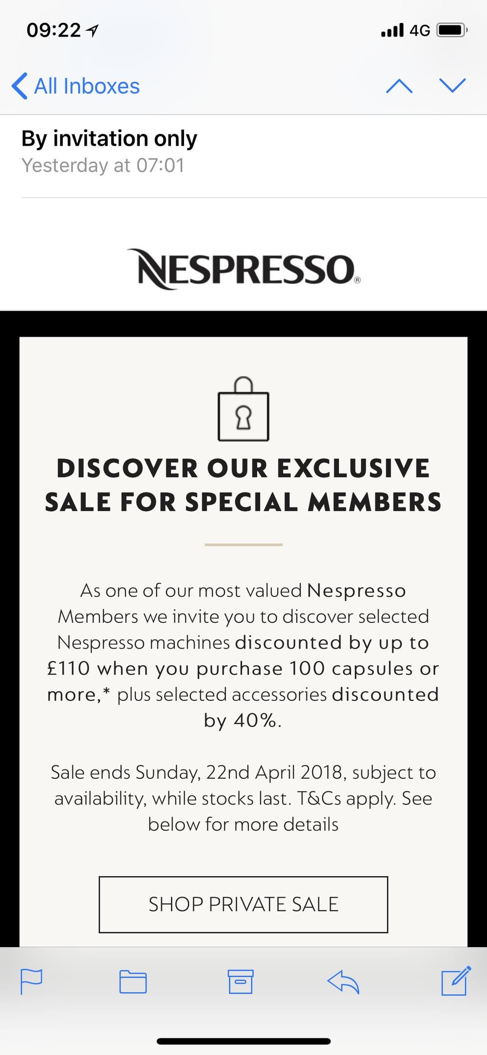 Nespresso's newsletter example