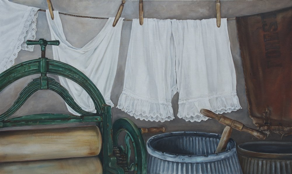 'In the wash house'. Oil on Linen.