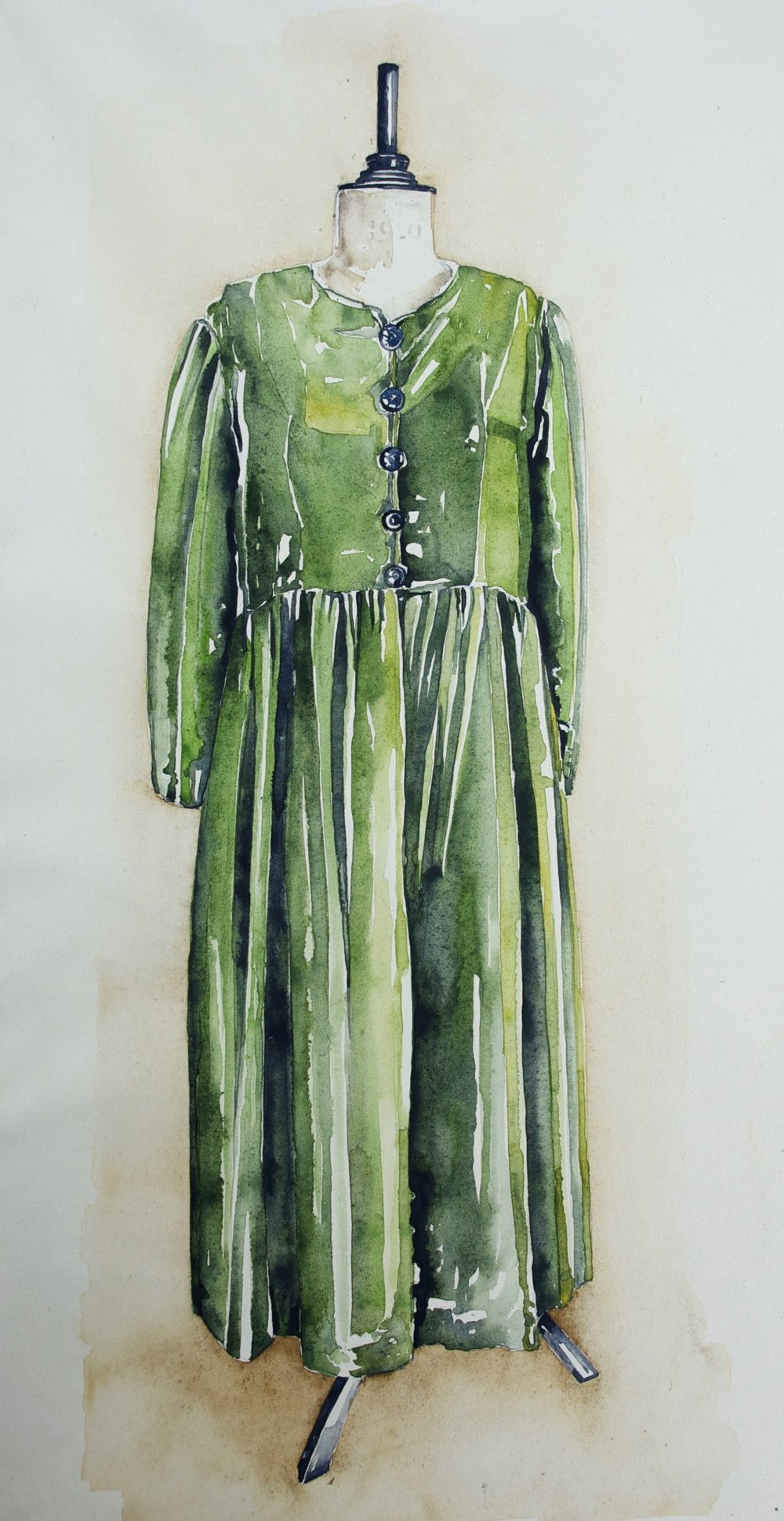 The Green Dress. Watercolour